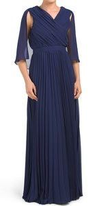 Kay Unger navy blue pleated capleat dress